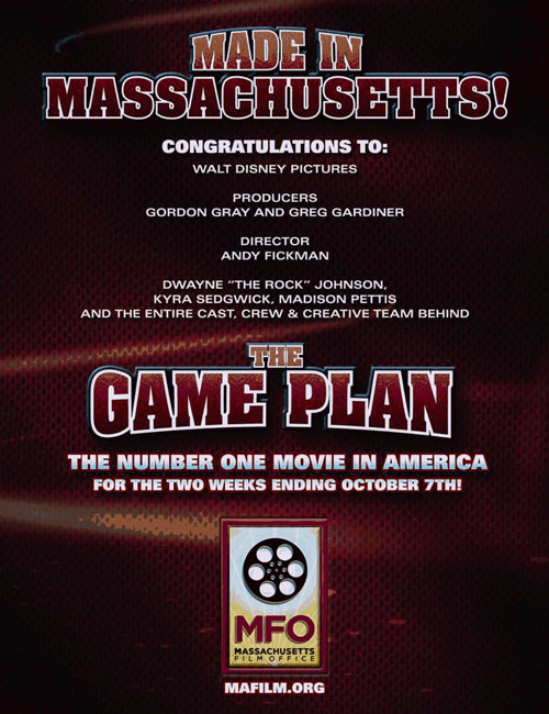 Variety ad featuring GAME PLAN as the #1 movie in US.