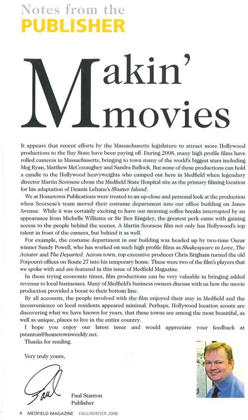 Medfield Magazine, Letter from Publisher