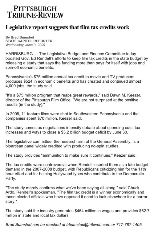PA film tax credit study