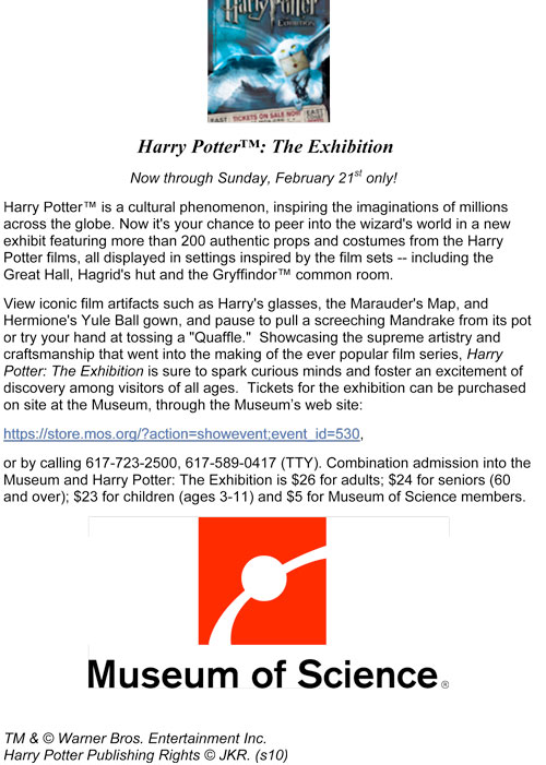 Harry Potter comes to Museum of Science