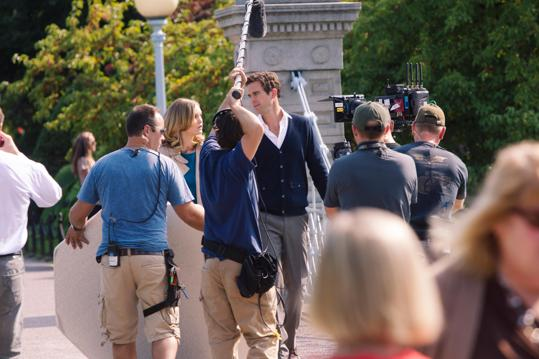 "Julia Stiles and David Walton filming the made-for-TV movie ""The Makeover"" in the Boston Public Garden last fall."