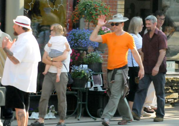 "Actor Robert Downey Jr. walks down the street in Shelburne Falls during filming of ""The Judge."" (Doug Potoksky)"