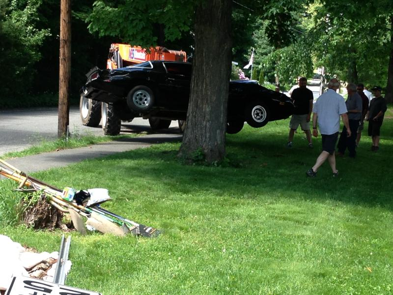 """A car crash is staged on Mechanic Street in Shelburne Falls Tuesday during filming of """"The Judge."""" (Recorder/Kathleen McKiernan)"""