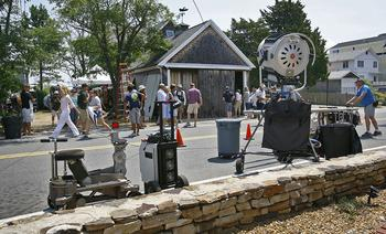 "Bay Avenue in the Green Harbor neighborhood of Marshfield was turned into a small slice of Hollywood Tuesday as filming continued for a new Steve Carell movie, "" The Way Way Back"" Crews shot scenes along the roadway and by some summer homes. (Greg Derr/The Patriot Ledger 2012NEWS Photo)"