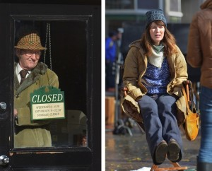 "(L) Actor Richard Jenkins looks out the front door of the 'Village Pharmacy,' set inside the Passports restaurant building on Main Street in Gloucester. (MIKE SPRINGER/Gloucester Daily Times) (R) Dressed for winter, actress Rosemarie DeWitt sits on a chair on the set of ""Olive Kitteridge"" on Main Street in Gloucester yesterday. DeWitt is known for her work on a number of TV series and for her performance in the title role of the 2008 Jonathan Demme film ""Rachel Getting Married."" (MIKE SPRINGER/Gloucester Daily Times)"