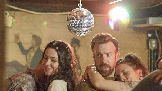 """""""Tumbledown"""" filmed for about a month and wrapped April 25. The movie follows Hannah (played by Rebecca Hall), who is writing a biography of her late husband — an acclaimed musician — with the help of New York City writer Andrew (played by Jason Sudeikis). Above, a scene from the film. (Seacia Pavao)"""