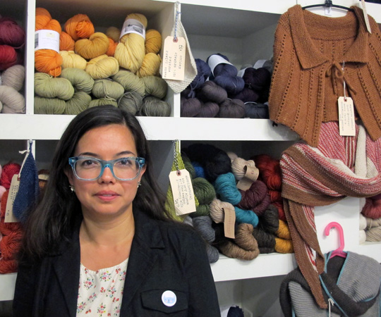 Costumer supervisor Virginia Johnson inside her yarn and crafting supplies store Gather Here and Make Something (Andrea Shea/WBUR)