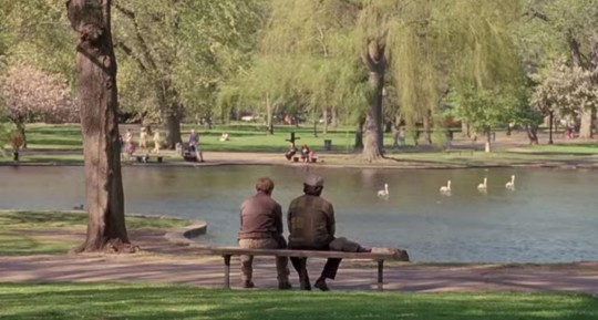 """A scene from """"Good Will Hunting"""" shot at Boston's Public Gardens. (YouTube)"""
