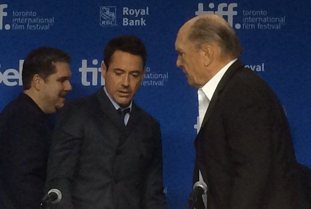 From left, David Gambino, Robert Downey Jr., and Robert Duvall at the Toronto International Film Festival on Friday, Sept. 5, 2014. (Ray Kelly | The Republican)