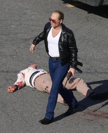 """Johnny Depp on the """"Black Mass"""" film set in Lynn in June. (Patriot Pics/FameFlynet)"""
