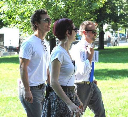 "Matthew McConaughey filming ""Sea of Trees"" at Clark University in Worcester on Friday, Sept. 5, 2014. (Clark University)"
