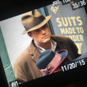 Ben Affleck as seen through a camera viewfinder shooting a scene on Margaret street in the north end (photo by Jen Royle)