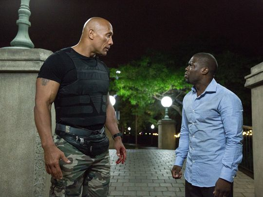 Dwayne Johnson's fanny pack makes an appearance opposite Kevin Hart in 'Central Intelligence.' (Photo: Claire Folger)