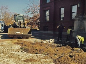 Construction in Lawrence for the upcoming filming of Ben Affleck's movie. (Staff Photo: Jill Harmacinski)
