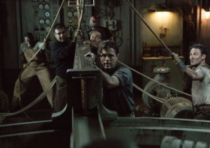 Ray Sybert (Casey Affleck) and Tchuda Southerland (Josh Stewart) struggle to keep their ship, the SS Pendleton, from sinking in Disney's THE FINEST HOURS, the heroic action-thriller presented in Digital 3D (TM) and IMAX (c) 3D based on the extraordinary  story of the most daring rescue mission in the history of the Coast Guard.