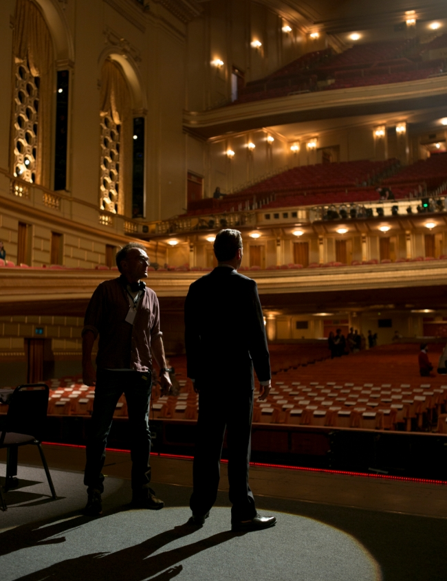 Grand enough for ya? Steve Jobs director Danny Boyle and Michael Fassbender at the War Memorial Opera House in San Francisco, March 2015