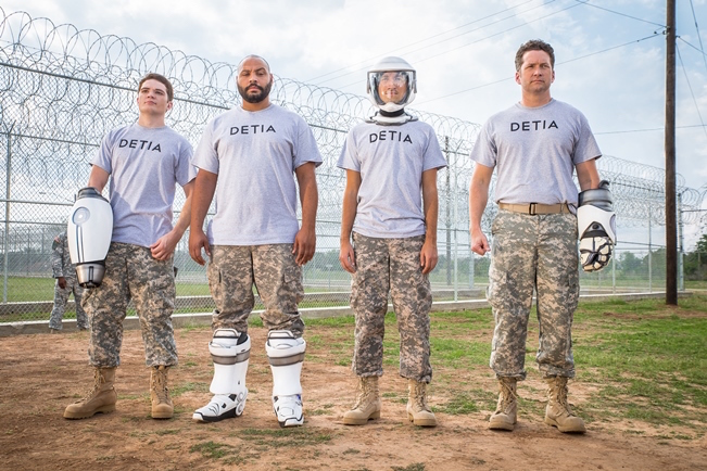 Longhorns 2.0? Michael Jones, Colton Dunn, Gavin Free and Burnie Burns in sci-fi comedy Lazer Team, the first feature by Austin's own Rooster Teeth studio. Courtesy of Rooster Teeth Productions