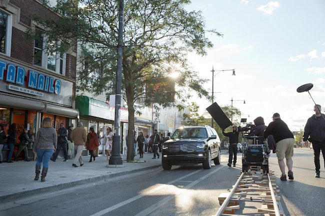 A street scene for TV's Empire unfolds in Chicago in 2015. Courtesy of Fox