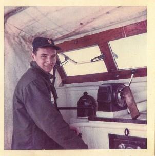 This 1968 photo shows Coast Guardsman Wayne Iacono of Chilmark at the helm of the famed CG36500 MLB. —Photo Courtesy of Wayne Iacono
