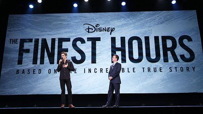"""Actor Chris Pine of """"The Finest Hours"""" and President of Walt Disney Studios Motion Picture Production Sean Bailey took part in a presentation at Disney's D23 EXPO August 15, 2015 in Anaheim, Calif. (Photo by Jesse Grant/Getty Images for Disney)"""