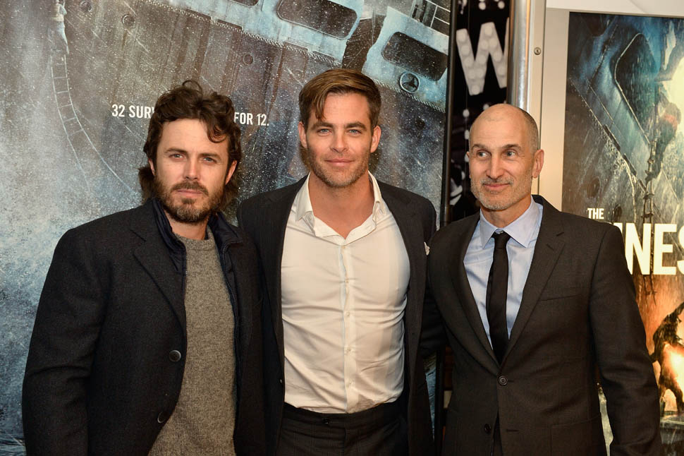 BOSTON, MA - JANUARY 28:  The Walt Disney Studios hosted a special 3D IMAX Screening of the Finest Hours for the US Coast Guard and local family, friends and supporters of the movie which was filmed in Quincy MA. Casey Affleck, Chris Pine and Craig Gillespie attend the scereening of THE FINEST HOURS  on January 28, 2016 in Boston, Massachusetts.  (Photo by Paul Marotta/Getty Images for Allied Integrated Marketing)