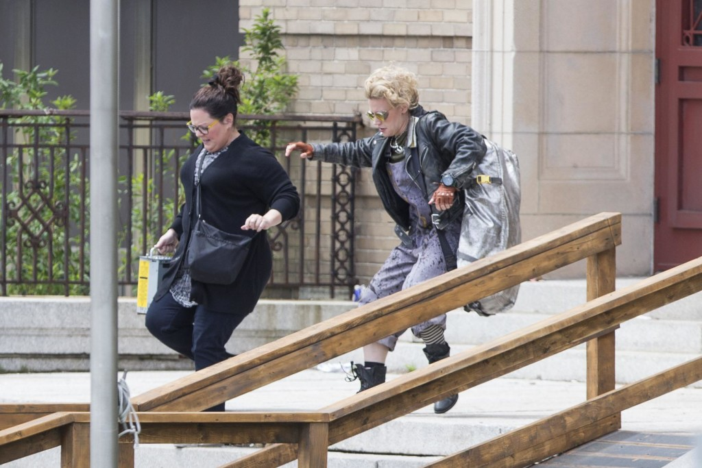 "Melissa McCarthy (left) and Kate McKinnon filmed a scene for the new ""Ghostbusters"" movie in Everett last year. (SCOTT EISEN FOR THE BOSTON GLOBE/FILE)"