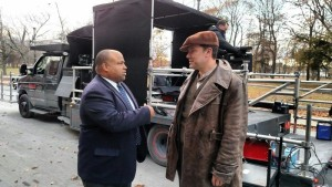 "Lawrence Mayor Daniel Rivera talks with Ben Affleck on the ""Live By Night"" movie set in downtown Lawrence last November (File photo)"
