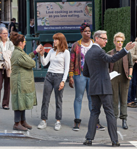 Feig and the cast on set in New York last fall. (Photograph: Splash News)