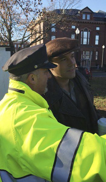 "(Courtesy photo)  Ben Affleck and Lawrence police officer Kevin Schiavone are seen on the downtown Lawrence set of ""Live by Night"" in November 2015"
