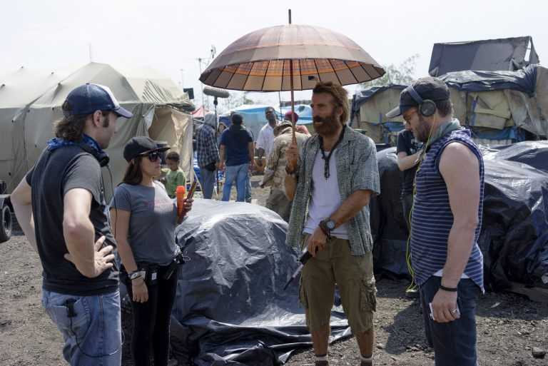 The Edgerton brothers and crew on the set of Gringo in Chicago. Photograph by Don Gray.