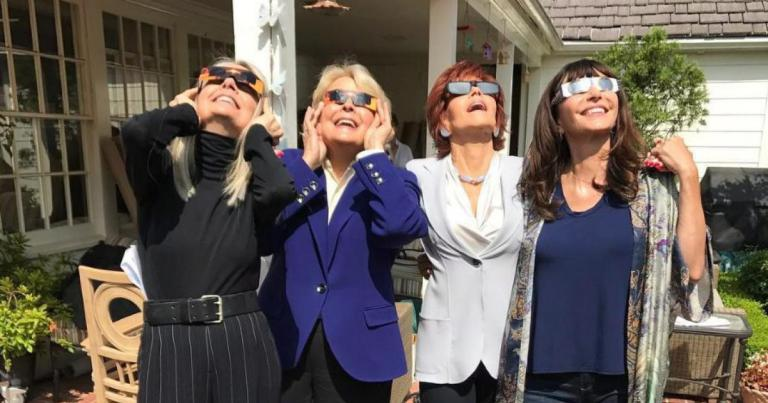 Diane Keaton, Candice Bergen, Jane Fonda, and Mary Steenburgen viewing the eclipse from the L.A. set of the upcoming film Book Club. Photograph by Candice Bergen.