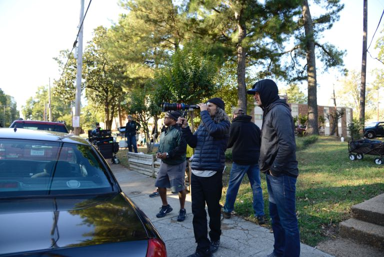 Memphis moviemaking champion Tom Shadyac sets up a shot of Brian Banks with DP Ricardo Diaz. Photograph by Katherine Bombay.