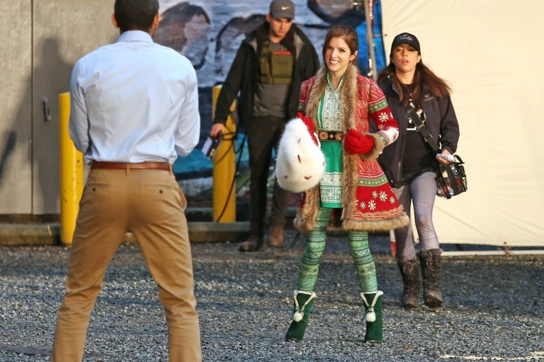 Anna Kendrick shooting Disney's Noelle in Vancouver in 2017. The holiday family film is slated to premiere November 2019.