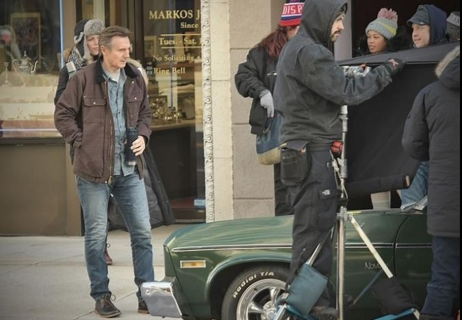 Actor  Liam Neeson readies for a film scene on Main Street in Worcester on Wednesday morning. (T&G Staff/Rick Cinclair)
