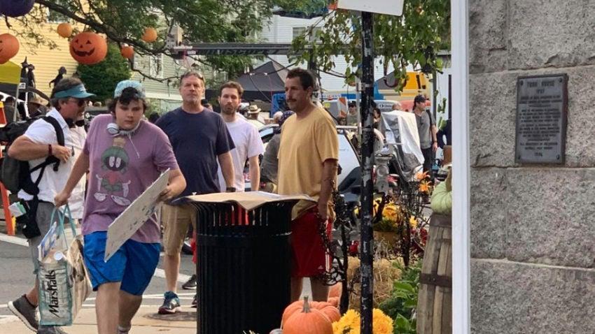 "Adam Sandler in Marblehead for filming of the Netflix movie ""Hubie Halloween.""–Derrick Mills"