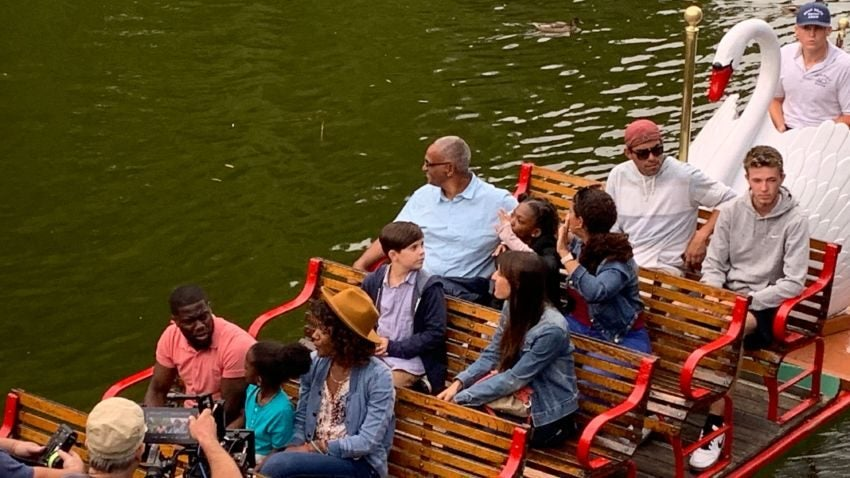 "Kevin Hart taking a swan boat ride in Boston Public Garden for the filming of ""Fatherhood.""–Kevin Slane/Boston.com Staff"