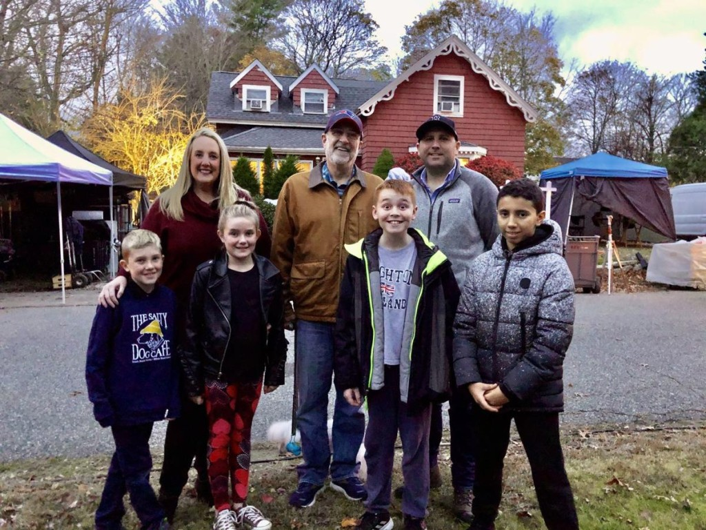 From Left: Back row: Town Selectwoman Leah Gibson, Selectman Chairman Mark Elfman, Joe Piasecki location scout and assistant location manager. Front row: David and Leighton Sherlock (Leah Gibson's children), Liam Conz and Adam Taj